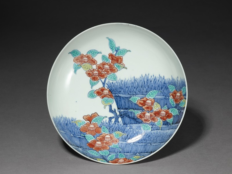 Dish with camellia flowers by a fence (EA1985.46, top           )