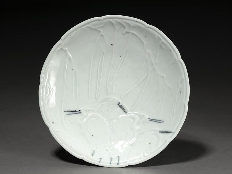 Decagonally-lobed dish with herons (EA1985.47, top           )