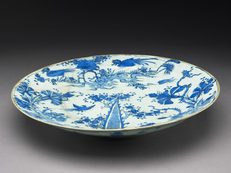 Dish with birds in a landscape (EA1986.50, oblique           )