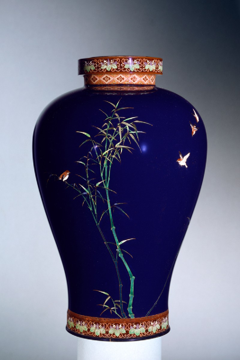Vase with sparrows and bamboo