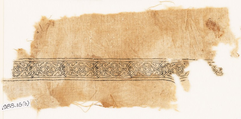Textile fragment with band of interlacing and four-leaved tendrils (EA1988.16.b, front             )