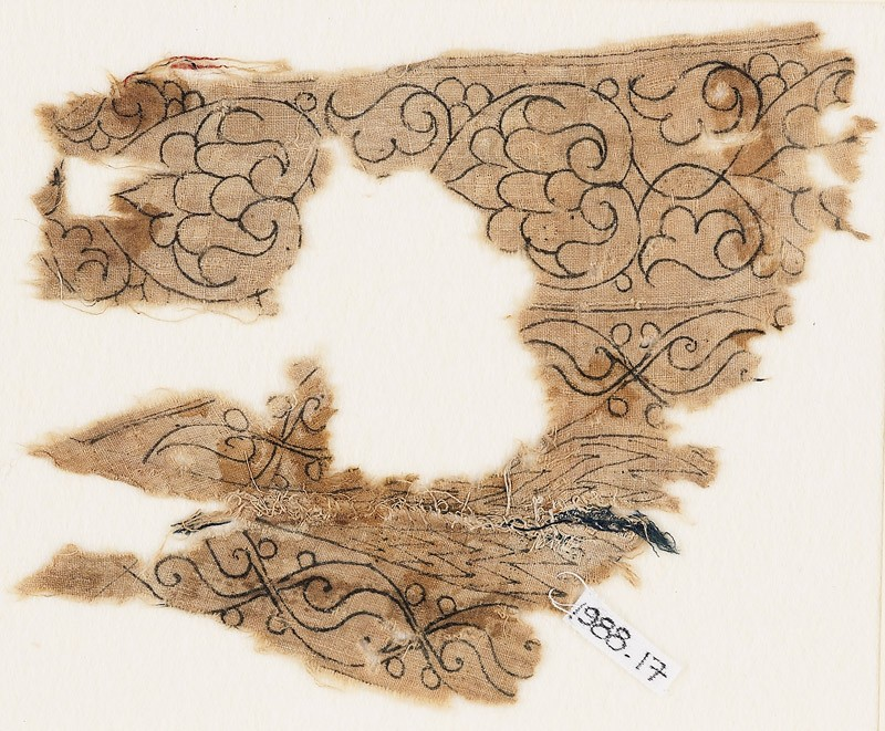 Textile fragment with palmettes, interlacing leaves, and tendrils