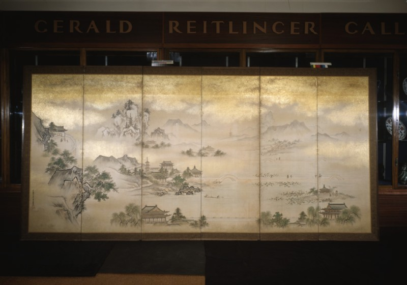Six fold screen depicting views of Lake Xi Hu
