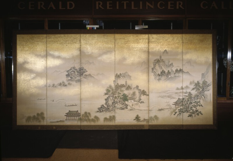 Six fold screen depicting views of Lake Xi Hu