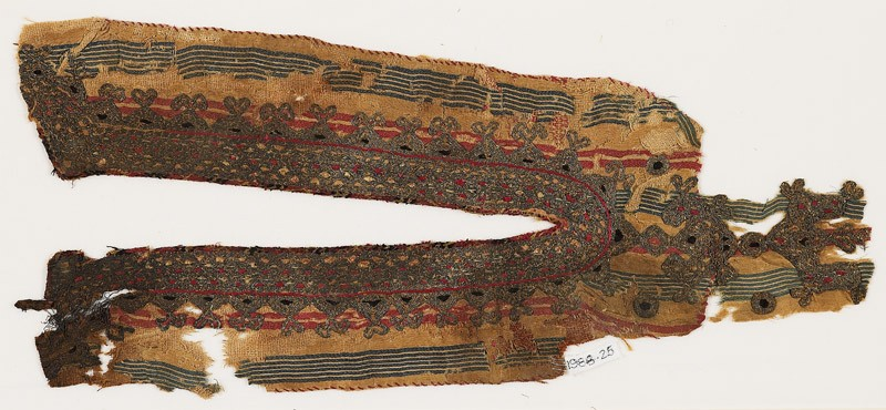 Textile fragment from the neck opening of a garment (EA1988.25, front           )