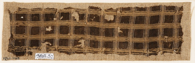 Textile fragment with grid of stripes (EA1988.52, front           )