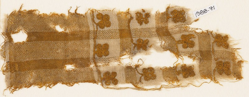 Textile fragment with squares and flowers