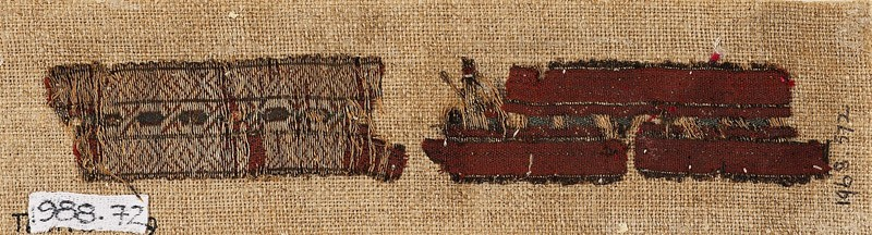 Textile fragment with band of interlacing hexagons and diamond-shapes