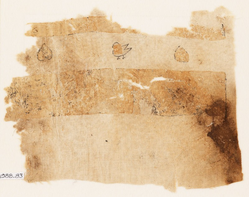 Textile fragment with hearts and bird (front           )