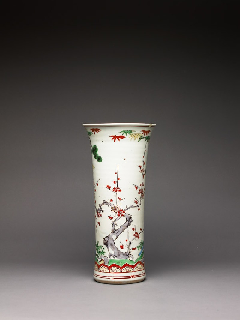 Trumpet vase with pine, prunus, and bamboo