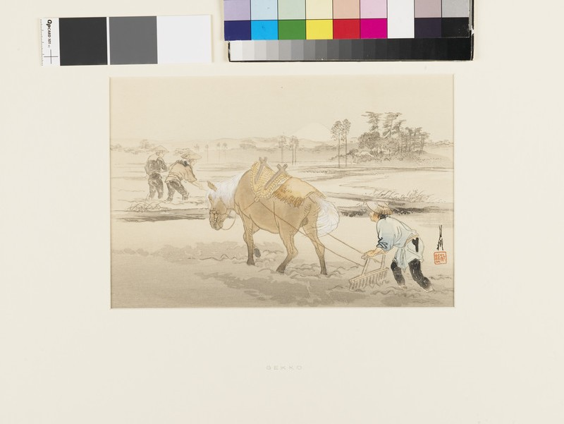 Farmer ploughing with a horse (EA1989.187, front            )