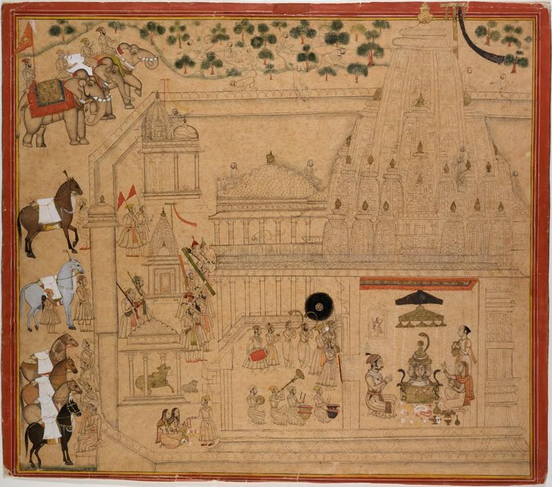 Maharana Amar Singh of Mewar at the Eklingji temple (EA1989.40, front           )