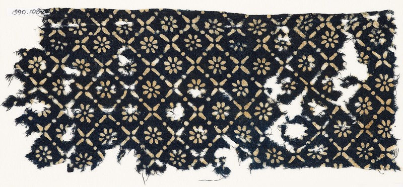 Textile fragment with flowers, dots, and rosettes (EA1990.108, front            )