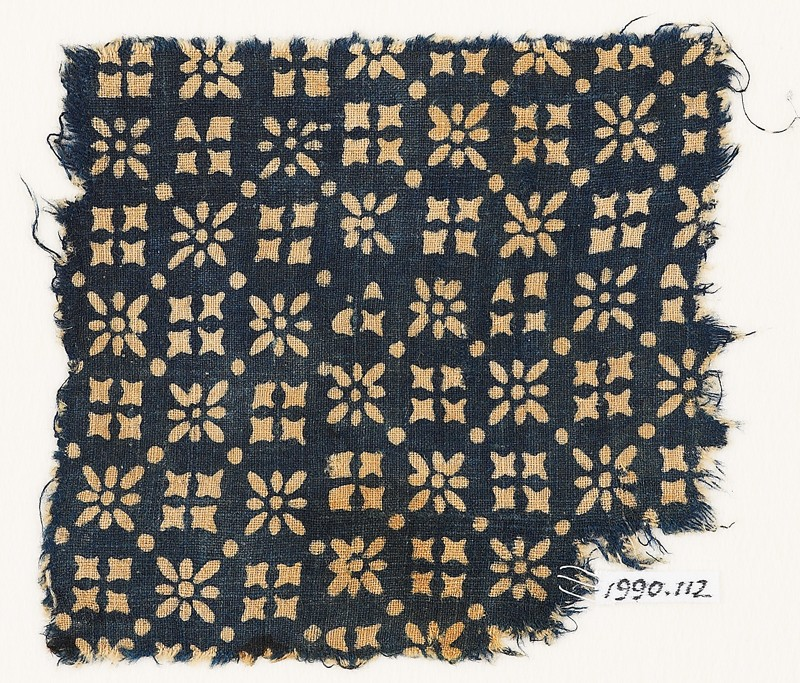 Textile fragment with rosettes, dots, and squares (EA1990.112, front            )