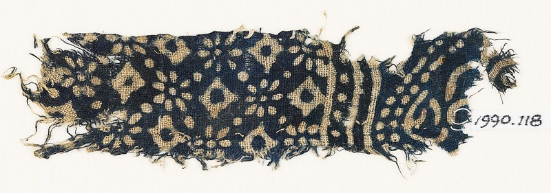 Textile fragment with rosettes, dots, and lobed squares (EA1990.118, front            )