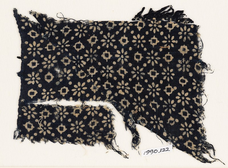 Textile fragment with rosettes, lobed squares, and dots (EA1990.122, front            )