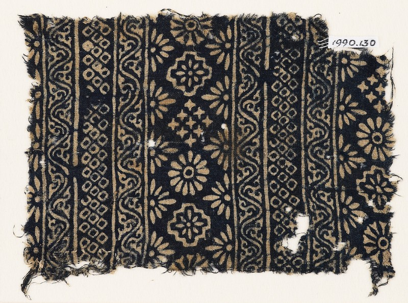 Textile fragment with carnations, stepped squares, stars, and rosettes (EA1990.130, front            )