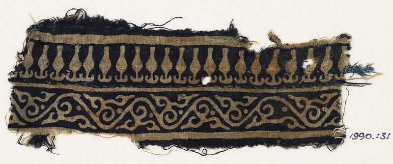 Textile fragment with vine and stylized bodhi leaves (front            )