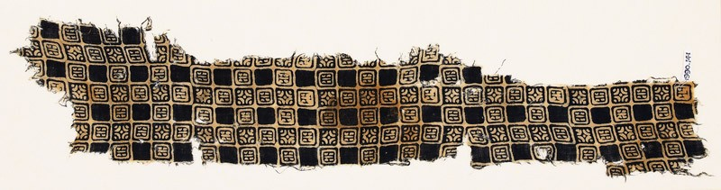 Textile fragment with linked squares, stylized flower-heads, and lines with dots (EA1990.141, front            )