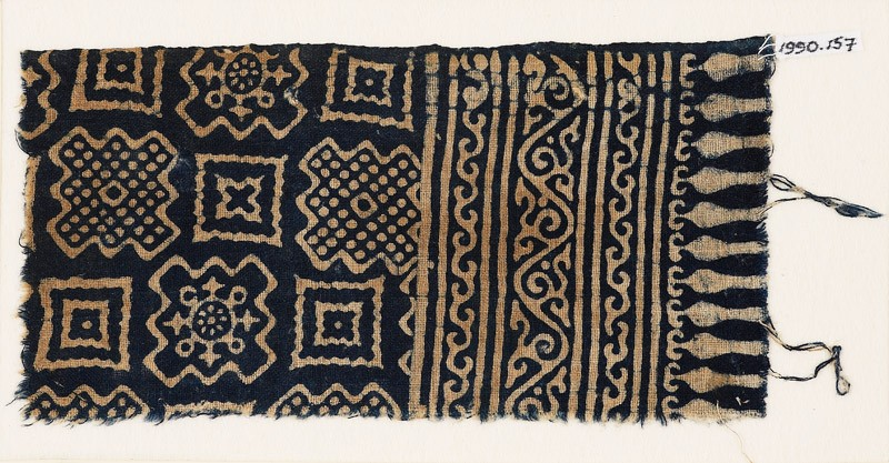 Textile fragment with squares and stepped squares (EA1990.157, front            )