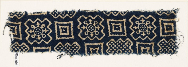 Textile fragment with squares and stepped squares (EA1990.160, front            )