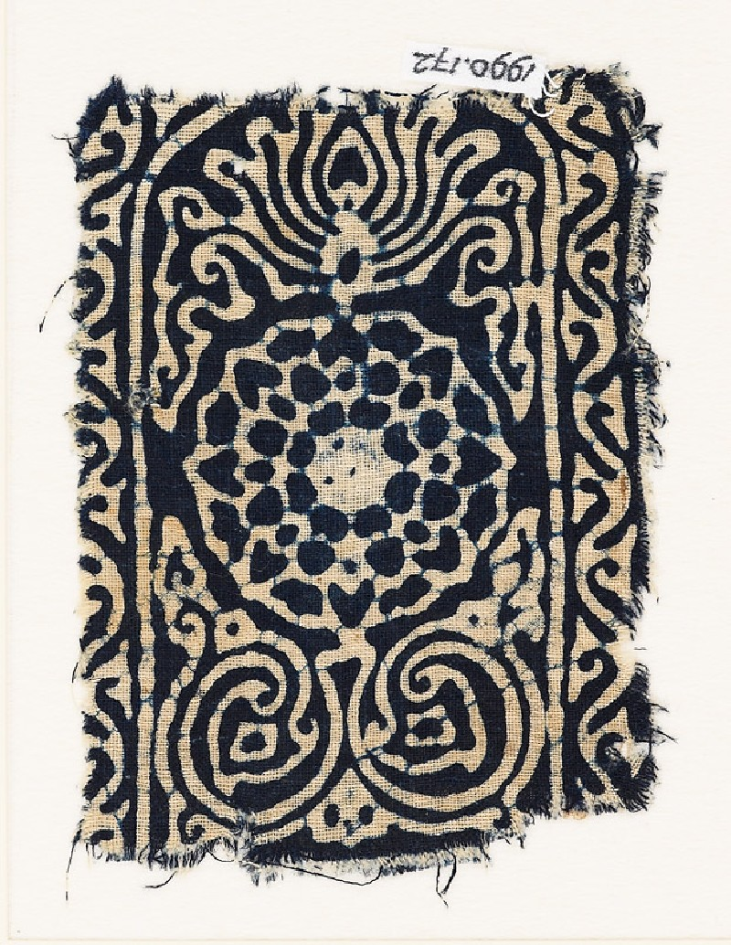 Tab with stylized flowering plant, rosette, and vine (EA1990.172, front            )