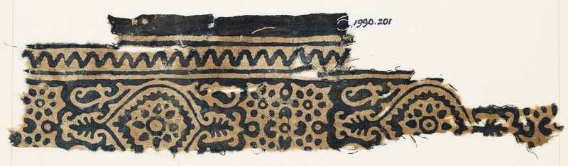 Textile fragment with medallions and flowers, with rosettes set into linked stars (front            )