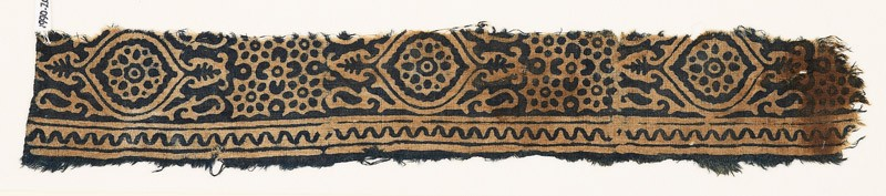 Textile fragment with medallions, and rosettes set into linked stars (front            )