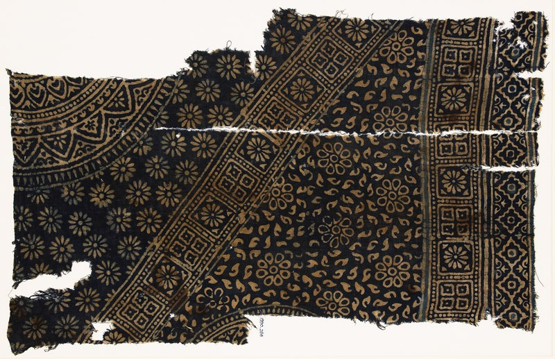 Textile fragment with rosettes, squares, and part of two medallions
