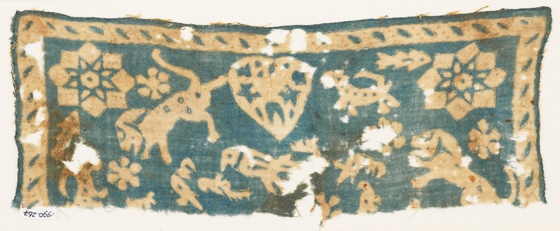 Textile fragment with animals, stars, and heart