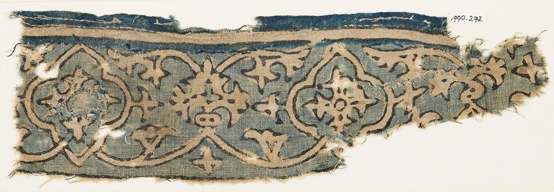 Textile fragment with vine, tendrils, and medallions (front            )