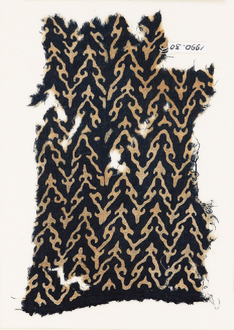 Textile fragment with linked chevrons and trefoils (EA1990.30, front           )