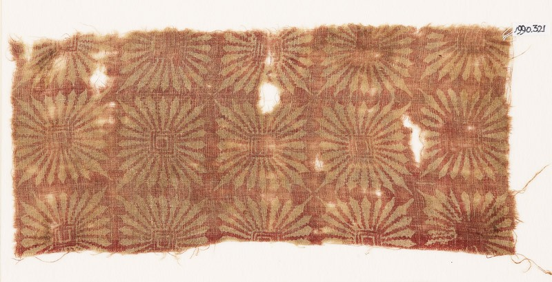 Textile fragment with large, square rosettes