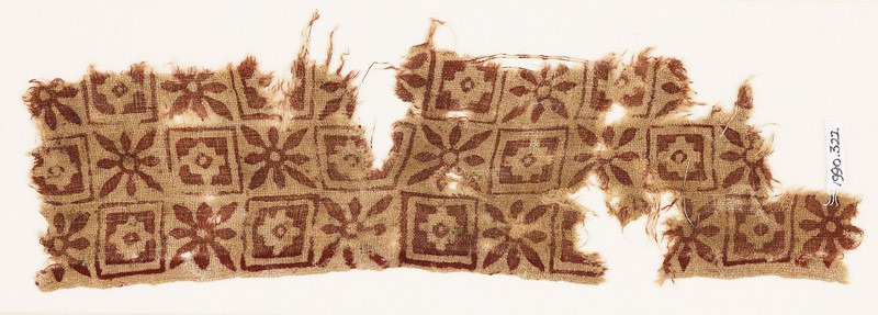 Textile fragment with rosettes, squares, and diamond-shapes