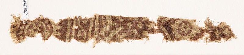 Textile fragment with rosette, oval, and diamond-shape (front            )