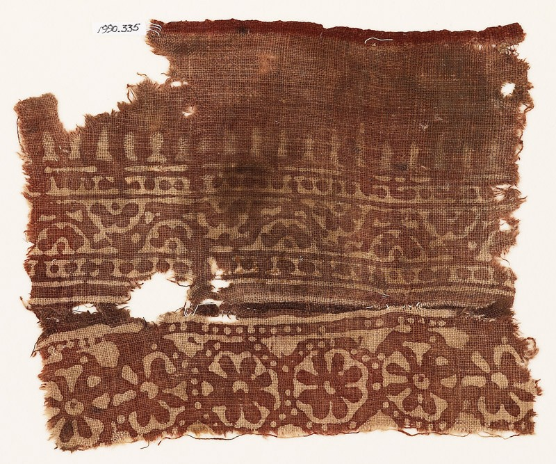 Textile fragment with rosettes, half-rosettes, and bodhi leaves