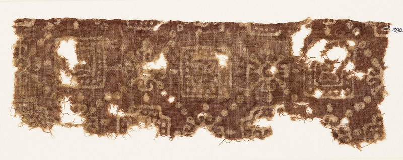 Textile fragment with squares, quatrefoils, and Maltese crosses