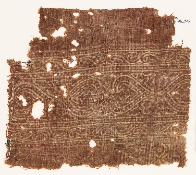 Textile fragment with hearts and leaves