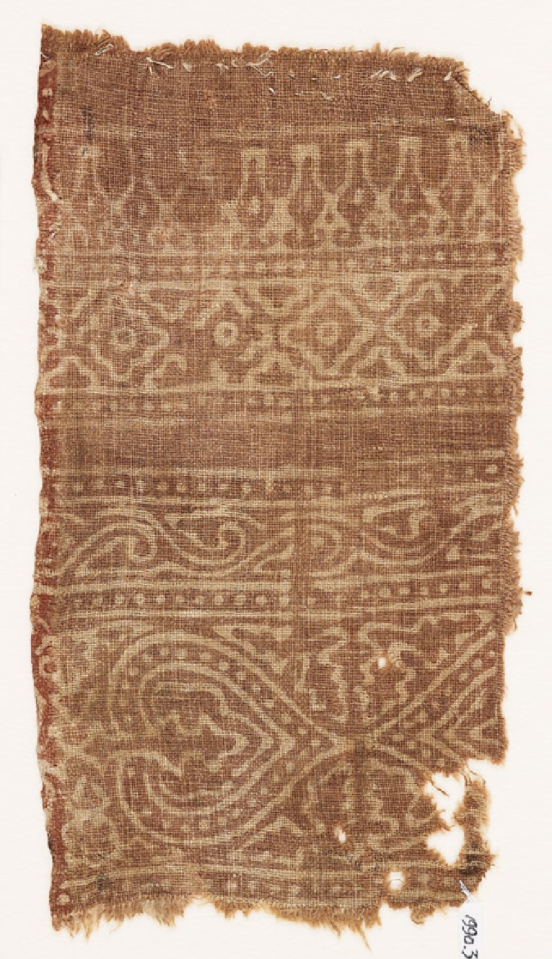 Textile fragment with hearts or leaves