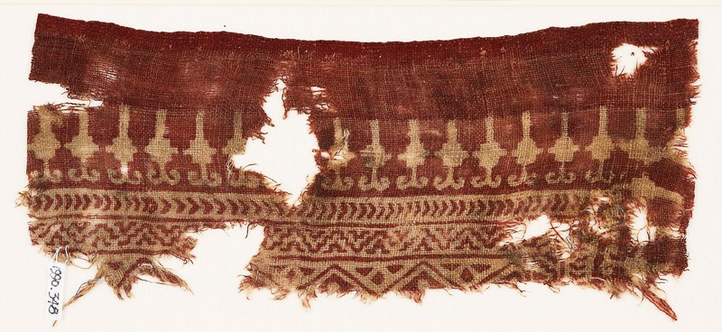 Textile fragment with stylized bodhi leaves, chevrons, and zigzags