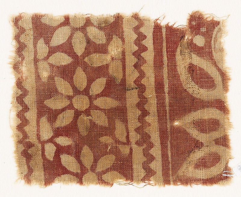 Textile fragment with rosettes and trefoils