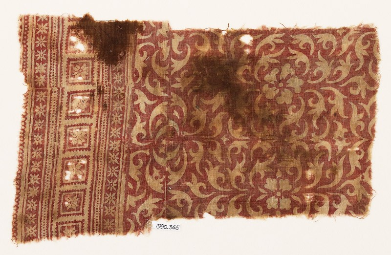 Textile fragment with leaves and flowers