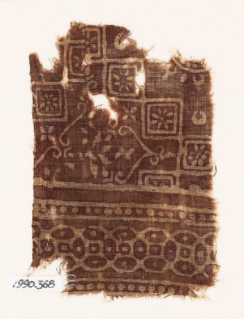 Textile fragment with squares, rosettes, and interlocking quatrefoils