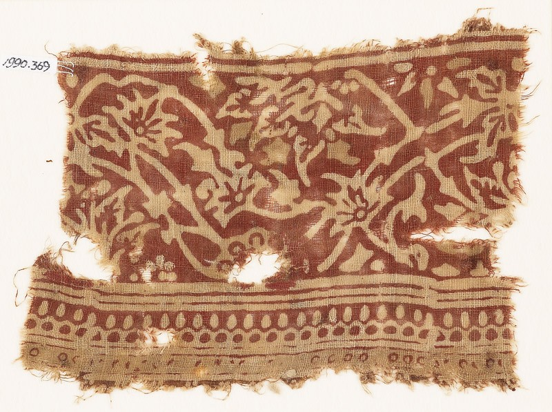 Textile fragment with vines and flowers (EA1990.369, front            )
