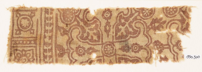 Textile fragment with Maltese cross and rosettes (EA1990.370, front            )