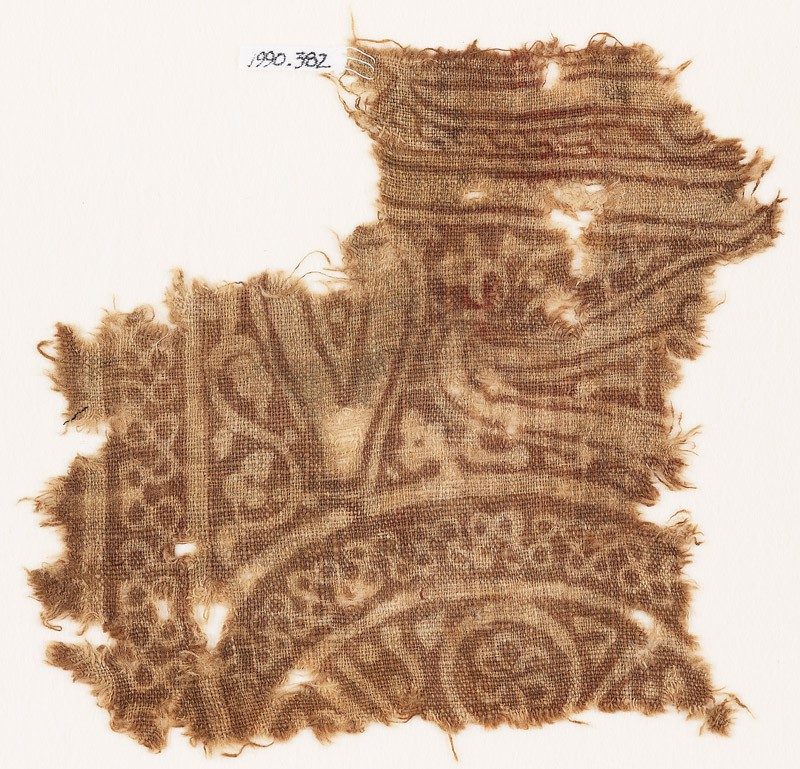 Textile fragment with interlace and tear-drops (EA1990.382, front            )