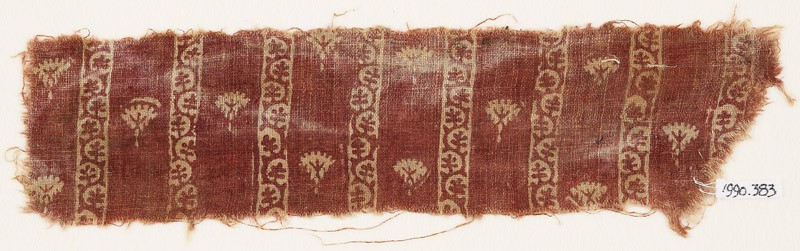 Textile fragment with flowers and bands of vine (EA1990.383, front            )