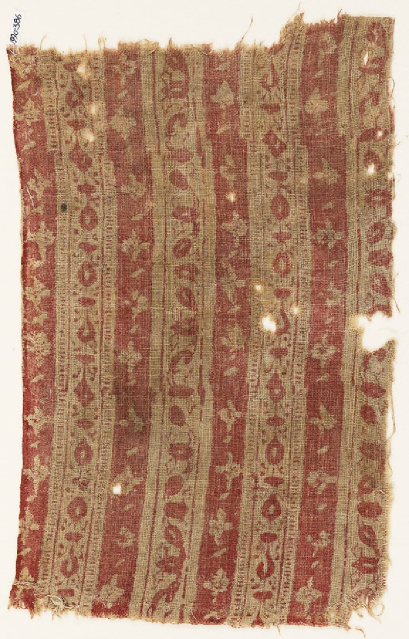 Textile fragment with bands of flowers (EA1990.386, front            )