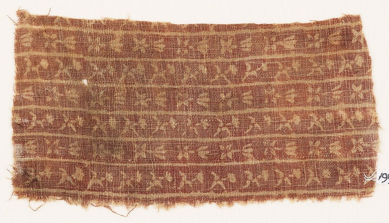 Textile fragment with bands of flowers (EA1990.388, front            )