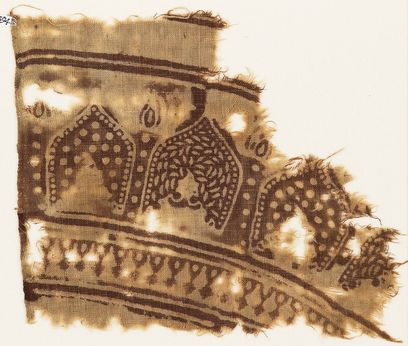Textile fragment with arches (front            )